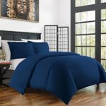 Zen Bamboo Ultra Soft 3-Piece Bamboo Derived Rayon Duvet Cover Set – Hypoallergenic and Wrinkle Resistant – Full/Queen – Navy Blue