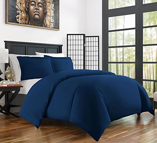Zen Bamboo Ultra Soft 3-Piece Bamboo Derived Rayon Duvet Cover Set –Hypoallergenic and Wrinkle Resistant – Full/Queen – Navy Blue