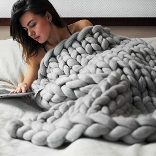 Winter Warm Comfortor, Lotus.flower Hand Knitted Chunky Blanket Thick Yarn Merino Wool Bulky Knitting Comfortable Throw Blankets (80x100cm, Gray)