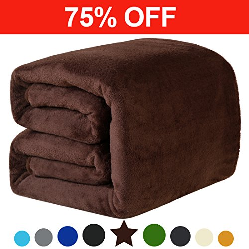 Fleece King Blanket Super Soft Warm Extra Silky Lightweight Bed Blanket, Couch Blanket, Travelling and Camping Blanket (Brown)