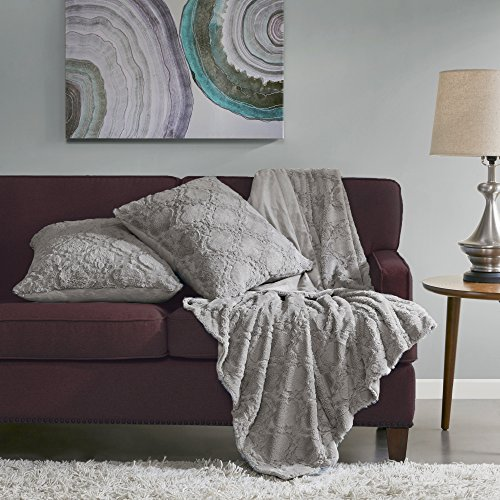 Comfort Spaces – Super Soft and Warm Faux Fur Throw Blanket with 2 Square Pillow Covers – 50×60 inches – Grey