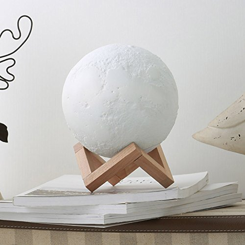 Moon Night Light – MiniTeasure Baby Moon Night Lamp ABS with Wooden Stand 3 Lights Printing Moon Night Light 5.9 Inch Diameter Soft Moon Lamp Home Decorative Light Birthday/Christmas Gift