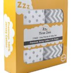 Crib Sheets | 100% ECO-FRIENDLY Combed Jersey Cotton | Three Zees Premium Extra Soft Bedding – 2 Pack | Grey Chevron and Polka Dot