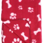 30×21 Inch Dog / Cat Fleece Blanket – Bone and Paw Print Assorted Color Pet Blankets by bogo Brands (Red Paws & Bones)