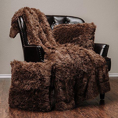 Chanasya Super Soft Long Shaggy Chic Fuzzy Fur Faux Fur Warm Elegant Cozy With Fluffy Sherpa Chocklate Microfiber Throw Blanket (50″ x 65″) & two Pillow Covers ( 18″x 18″) Set