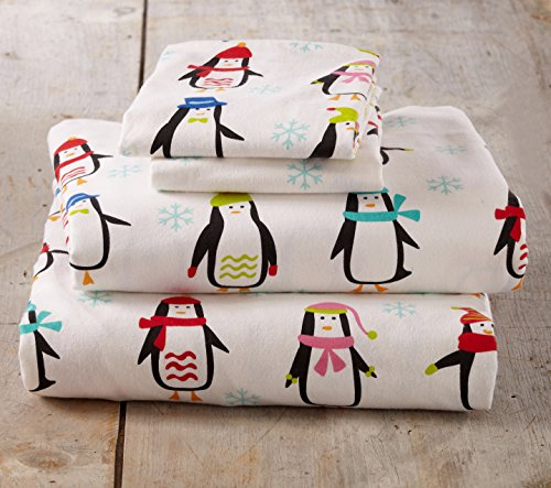 Stratton Collection Extra Soft Printed 100% Cotton Flannel Sheet Set. Warm, Cozy, Lightweight, Luxury Winter Bed Sheets. By Home Fashion Designs Brand. (Twin, Penguins)