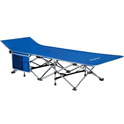 KingCamp Strong Stable Folding Camping Bed Cot with Carry Bag (Blue with Side Pocket)