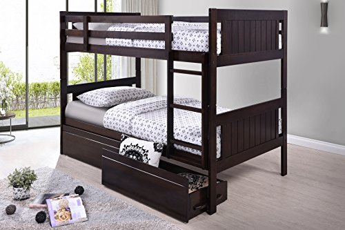 Best Quality Furniture BU914 Traditional Children's Bunk Bed, Twin over Twin, Cappuccino