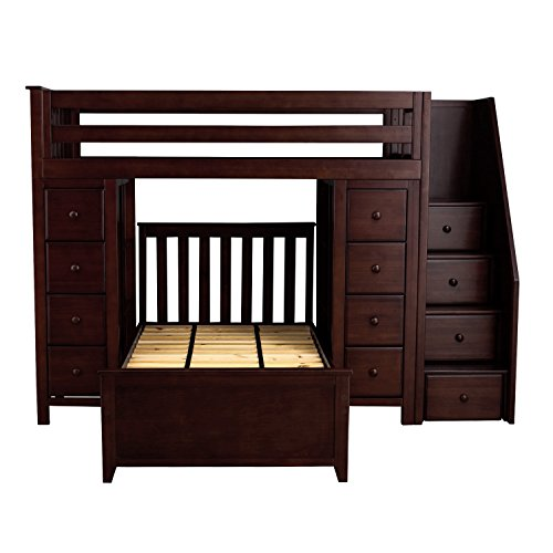 Plank & Beam Staircase Combo Loft Bed + Dresser + Dresser over Twin Bed, Espresso