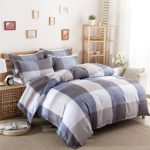 Uozzi Bedding 3 Piece Duvet Cover Set King, Reversible Printing with Brushed Microfiber, Lightweight Soft, Comfortable , Durable (Blue&gray&white plaid, Queen)