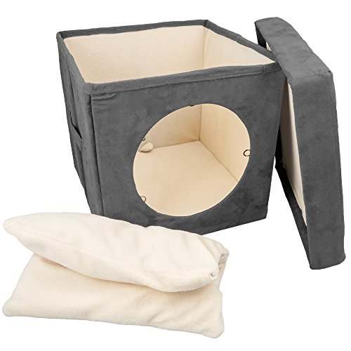 Easyology Kitty Zen Den Hideaway, Enclosed Condo, Covered Cube Cat Bed, 100% Pet Friendly and Soft, Comfortable- Connects To Our Cat Tunnels to Make a Fun Interactive Play Toy (GREY)