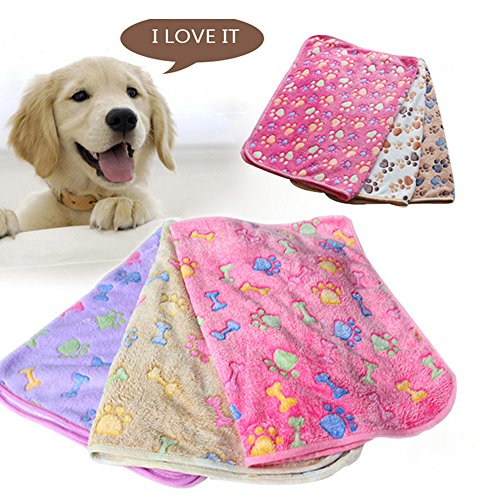 Ypres SU Puppy Blanket Pet Cushion Small Dog Cat Bed Soft Warm Sleep Mat, Pet Dog Cat Puppy Kitten Soft Blanket Doggy Warm Bed Mat (60X40CM, Brown bones)
