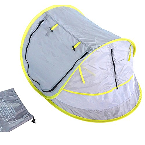 SAMYO Instant Pop up Portable Outdoor Baby Beach Tent Travel Crib Bed Protect Baby from Sun & Insects & Mosquitoes with 2 Stake Pegs (Grey)