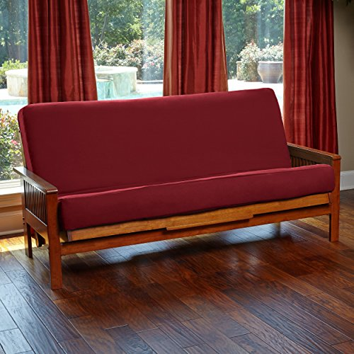 Futon Cover with 3 Sided Zipper – Factory Direct – Full or Queen – Solid Colors – Premium Cotton/Polyester Blend – Futon Mattress Cover (Burgundy, Queen (Fits 6″ to 8″ Mattress))