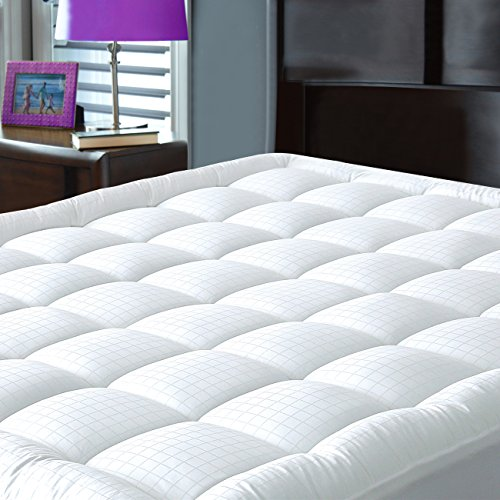 Mattress Pad Cover with Fitted Skirt – Hypoallergenic – Cotton Down Alternative Filled Mattress Topper, King