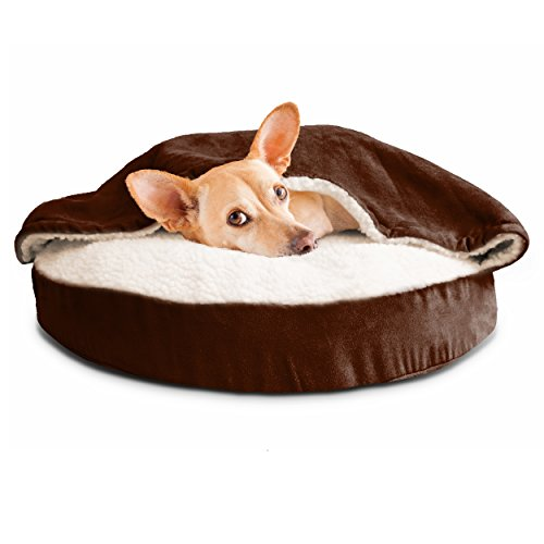 FurHaven Round Snuggery Burrow Pet Bed, Espresso, 26″