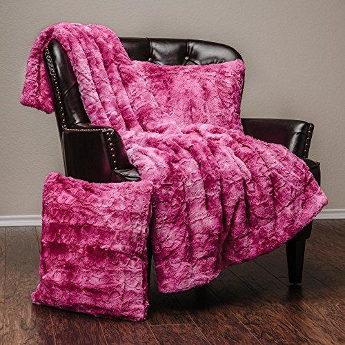 Chanasya Super Soft Fuzzy Fur Faux Fur Cozy Warm Fluffy Beautiful Color Variation Print Plush Sherpa Pink Fur Microfiber Throw Blanket (50″ x 65″) & 2 pillow Covers ( 18″x18″) Set