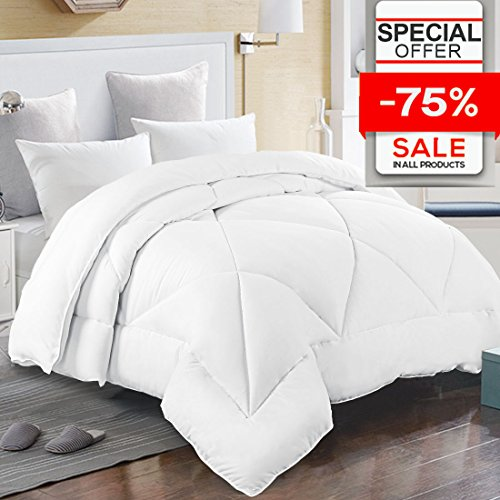 Queen Comforter Duvet Insert with Corner Tabs for Duvet Cover, Snow Goose Down Alternative, Hotel Collection Comforter Reversible, Hypoallergenic, 88 by 88 inches, White