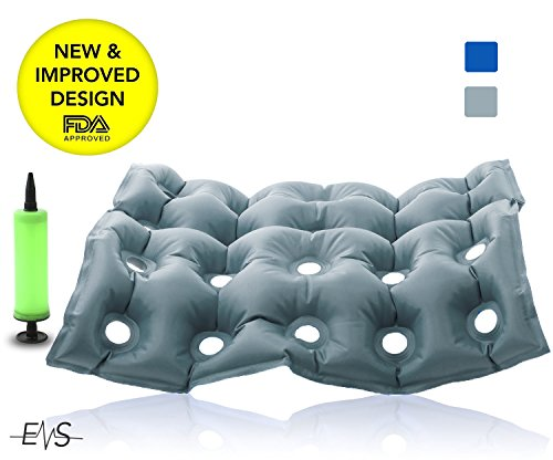 Premium Air Inflatable Seat Cushion 17″ X 17″ Heat Sealed Construction for Durability, Air Seat Cushion for Wheel Chair and Day to day use . Ideal for Prolonged Sitting .FDA Approved (Gray)