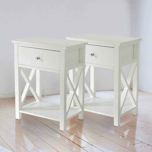 "Cozylifeunion 1-Drawer End Side Table Night Stand/ Accent Table with Shelf Storage Chairside Table Home Furniture X-Design 21"" high White, Set of 2"