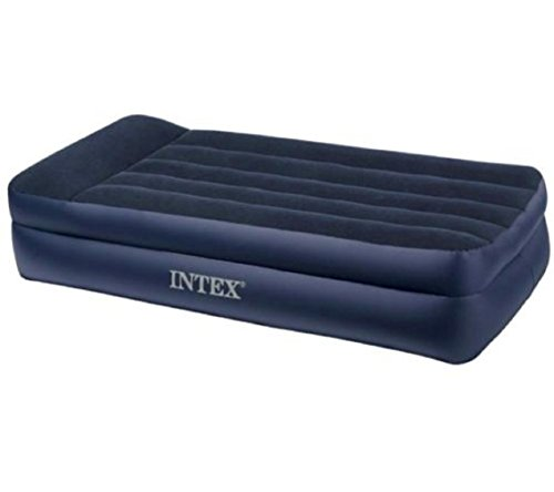 Air Mattress With Pump. This Intex Raised Twin Size Blow Up Airbed With Pillow Rest & Electric Pump For Two Adults Indoor Or Outdoor Use. Raised Inflatable Bed Is Best As Camping Or Guest Bed.