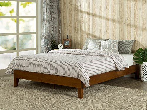 Zinus 12 Inch Deluxe Wood Platform Bed / No Boxspring Needed / Wood Slat support / Cherry Finish, King