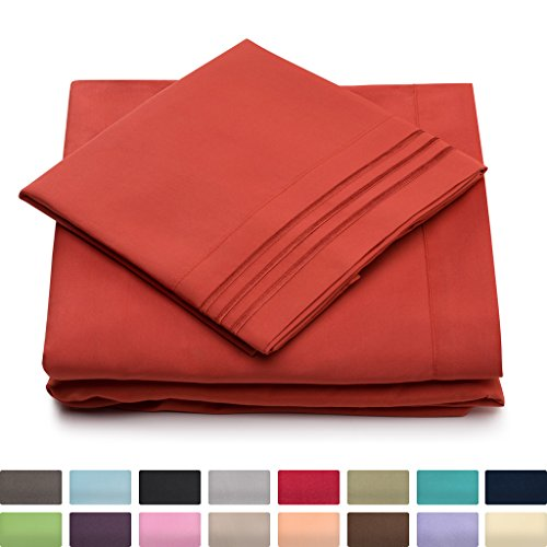 California King Bed Sheets – Burnt Orange Luxury Sheet Set – Deep Pocket – Super Soft Hotel Bedding – Cool & Wrinkle Free – 1 Fitted, 1 Flat, 2 Pillow Cases – Rust Cal King Sheets – 4 Piece