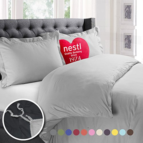 Nestl Bedding Duvet Cover, Protects and Covers your Comforter / Duvet Insert, Luxury 100% Super Soft Microfiber, Queen Size, Color Silver Light Gray, 3 Piece Duvet Cover Set Includes 2 Pillow Shams
