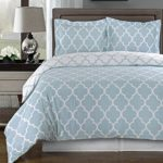 Blue and White Meridian King / Cal-king 3-piece Duvet-Cover-Set, 100 % Cotton 300 TC
