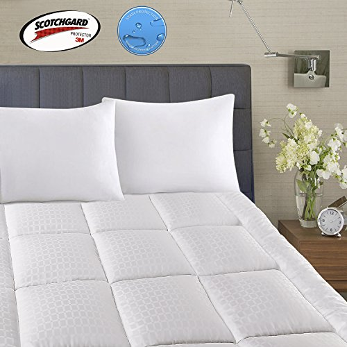 Mattress Topper King Szie 2 Inchs Loft -400TC Cotton Top Waterproof And Body Temperature Control-71oz Down Alternative Filling Pillowtop Mattress Pad Cover-Fitted Quilted 8-21 Inch Deep Pocket