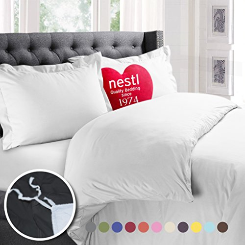 Nestl Bedding Duvet Cover, Protects and Covers your Comforter / Duvet Insert, Luxury 100% Super Soft Microfiber, Cal King Size, Color White, 3 Piece Duvet Cover Set Includes 2 Pillow Shams