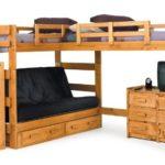 Chelsea Home Furniture 3662001 L Shaped Futon Loft Bed, 68″H, Honey