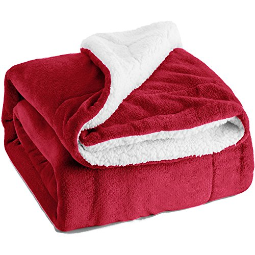 Sherpa Throw Luxury Blanket Red Twin Size 60″x80″ Reversible Fuzzy Microfiber All Season Blanket for Bed or Couch by Bedsure