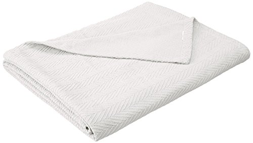 Superior 100% Cotton Thermal Blanket, Soft and Breathable Cotton for All Seasons, Bed Blanket and Oversized Throw Blanket with Metro Herringbone Weave Pattern – King Size, White