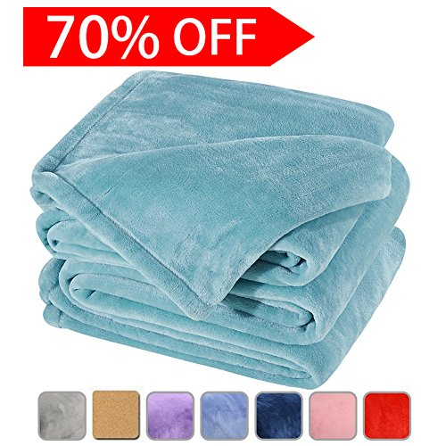Fleece Bed Blanket Super Soft Warm Fuzzy Velvet Plush Throw Lightweight Cozy Couch Blankets Queen(90-Inch-by-90-Inch)Turquoise