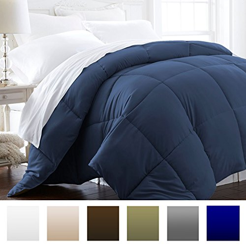 Beckham Hotel Collection 1200 Series – Lightweight – Luxury Goose Down Alternative Comforter – Hotel Quality Comforter and Hypoallergenic -Full/Queen – Navy