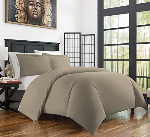 Zen Bamboo Ultra Soft 3-Piece Bamboo Derived Rayon Duvet Cover Set –Hypoallergenic and Wrinkle Resistant – King/Cal King – Taupe