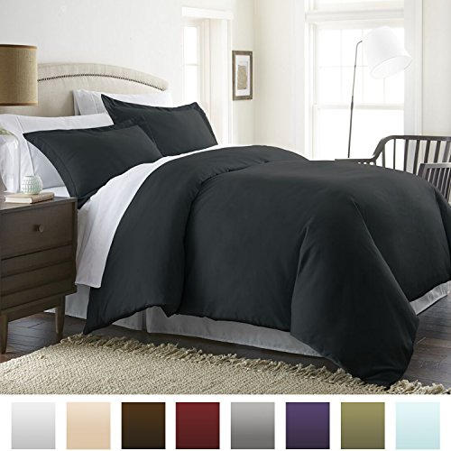 Beckham Hotel Collection Luxury Soft Brushed 1800 Series Microfiber Duvet Cover Set – Hypoallergenic – Full/Queen, Black