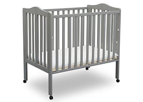 Delta Children Folding Portable Crib with Mattress, Grey