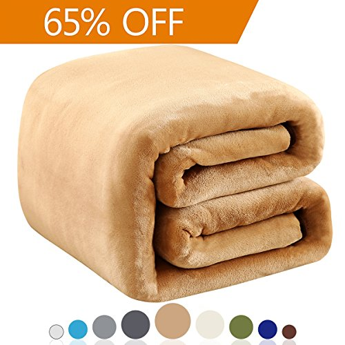 Polar Fleece Blankets Twin Size for The Bed Extra Soft Brush Fabric Super Warm Sofa Blanket 66″ x 90″(Camel Twin)