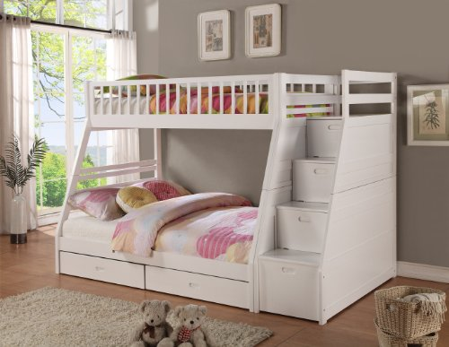 Twin Over Full White Staircase Bunk Bed 719943