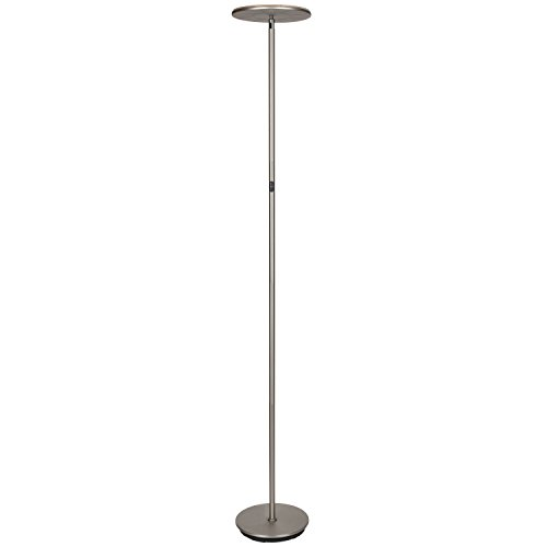 Brightech SKY LED Torchiere Floor Lamp – Energy Saving, Dimmable Adjustable Lamp, Reading Lamp– Modern Tall Standing Pole Uplight Lamp Light for Living Room, Dorm, Bedroom, and Office –Brushed Nickel
