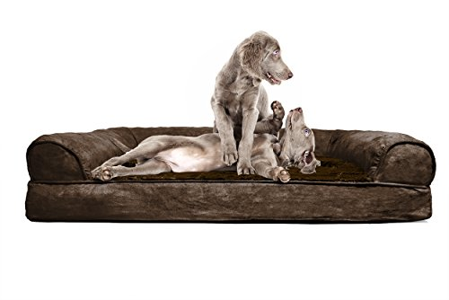 FurHaven Jumbo Plush & Suede Orthopedic Sofa Pet Bed for Dogs and Cats, Espresso