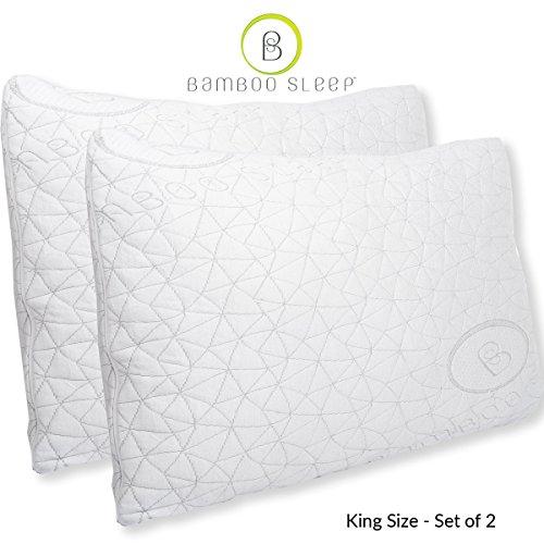 Bamboo Sleep PREMIUM Adjustable Comfort Pillow – Dual Cover Hypoallergenic Certipur-US Shredded Memory Foam – Set of 2 King Size