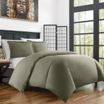 Zen Bamboo Ultra Soft 3-Piece Bamboo Derived Rayon Duvet Cover Set –Hypoallergenic and Wrinkle Resistant – King/Cal King – Olive