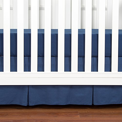 TILLYOU Pleated Crib Bed Skirt, 100% Natural Cotton, Nursery Crib Bedding for Baby Boys or Girls, 14″ Drop/Navy
