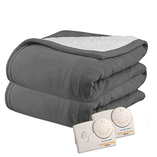 Biddeford 2063-9032138-902 MicroPlush Sherpa Electric Heated Blanket Queen Grey