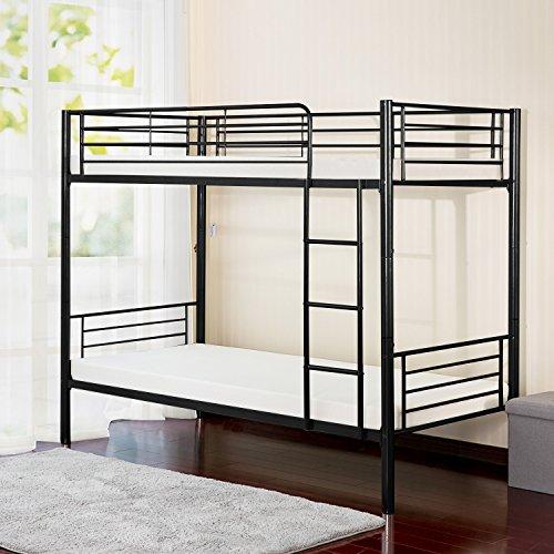 Merax Twin-Over-Twin Metal Bunk Bed in Black