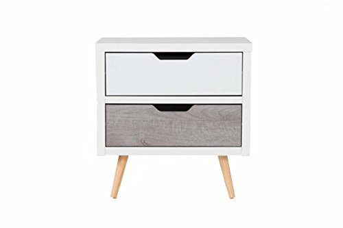 Oliver and Smith – Modern Rustic Collection – Wooden 2 Drawer Night Stand – Reclaimed Style – Made in USA – 22″ W x 15″ D x 23″ H – MC6808 – Grey White