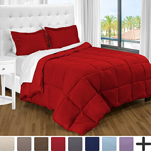 Ultra-Soft Premium 1800 Series Goose Down Alternative Comforter Set – Hypoallergenic – All Season – Plush Siliconized Fiberfill (King/Cal King, Red)